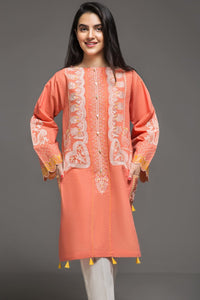 ROSE PEACH - 1 pc PRET (Stitched) - Embroidered Cambric Shirt - yesonline.pk