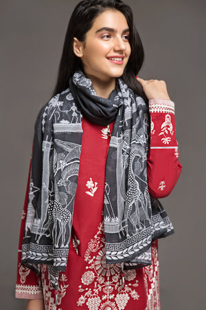 Monochrome Tribal Art  Scarf Fine cotton Fabric By Yesonline.pk - yesonline.pk