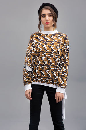 ACTIVE CAMO (Black and Tan) - Knit Fusion Top | Printed Jersey Fabric By Yesonline.pk - yesonline.pk
