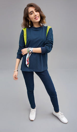BLOCK SQUARE (In Teal and Lime Green) - Knit Fusion Top | Lycra Jersey Yesonline.pk - yesonline.pk