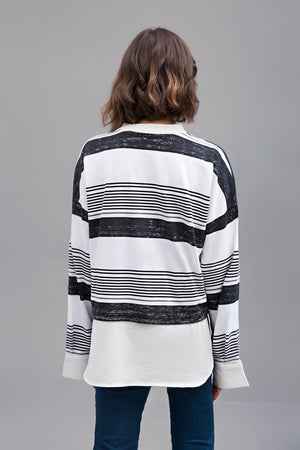 STRIPED MONOTONES - Knit Fusion Top | Slub Jersey with Printed Stripes By Yesonline.pk - yesonline.pk