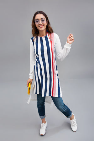 Stripe on stripe Fabric Printed Jersey  By Yesonline.Pk - yesonline.pk