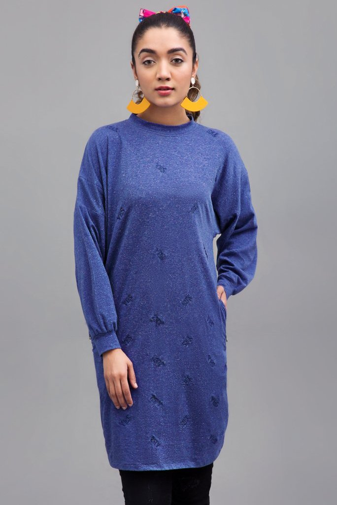 Loose Fit Top Fabric Melange Jersey By Yesonline.Pk - yesonline.pk