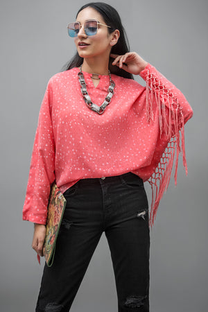Star Pattern Side Fringes Blouse Cotton Linen  By Yesonline.Pk - yesonline.pk