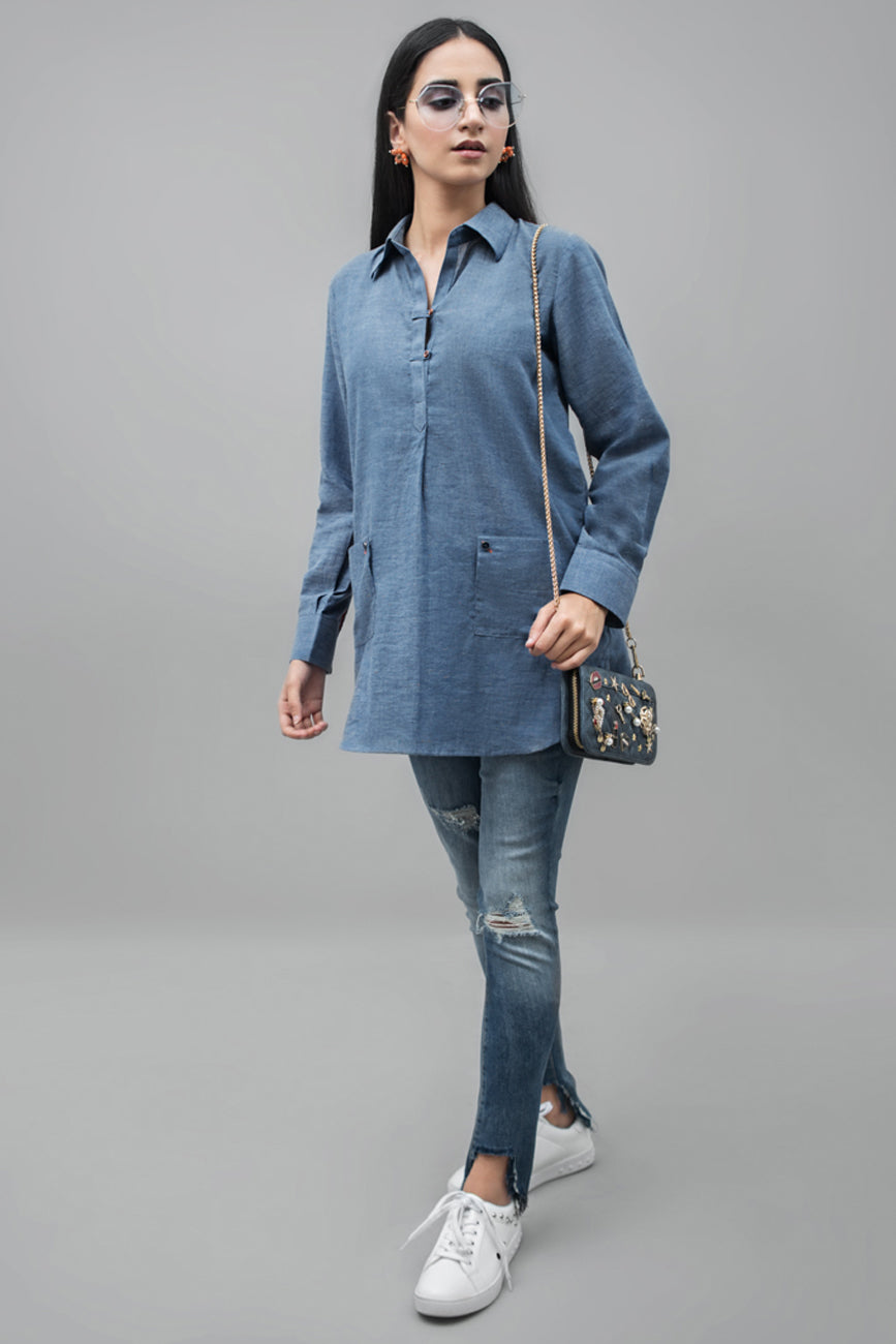 V-Neck Blouse Denim Cotton Fabric  By Yesonline.Pk - yesonline.pk
