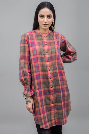 Check Patterned Stretch Sleeve Tunic Top Cotton Fabric By Yesonline.pk - yesonline.pk