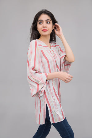 Colored line Box pleated shirt with Experimental Embroidery on cotton rich fabric - yesonline.pk