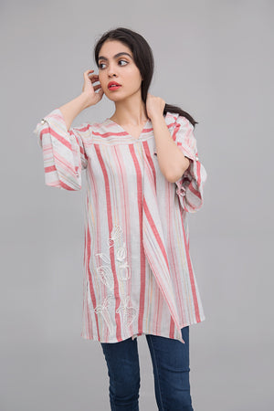 Colored line Box pleated shirt with Experimental Embroidery on cotton rich fabric