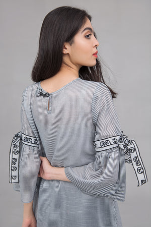American Stripe Long shirt with Embroidery on sleeves in cotton rich fabric