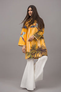 Tropical Mustard parrot Fusion Printed Shirt In 100% Cotton