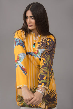 Tropical Mustard parrot Fusion Printed Shirt In 100% Cotton (minimum 30 pieces & 10 from one design) - yesonline.pk