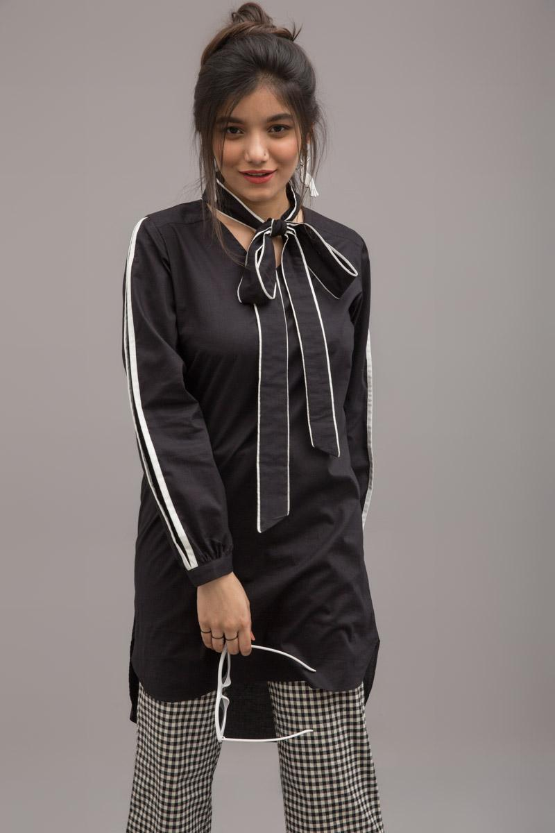 Black Papilion Long shirt in 100% Cotton - yesonline.pk