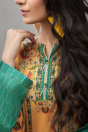 YELLOW GREEN - 1 pc PRET (Stitched) - Digital Printed Lawn Shirt - yesonline.pk
