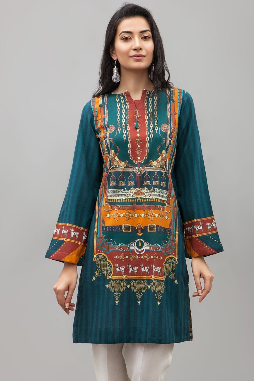 BLUE GREEN - 1 pc PRET (Stitched) - Digital Printed Lawn Shirt - yesonline.pk