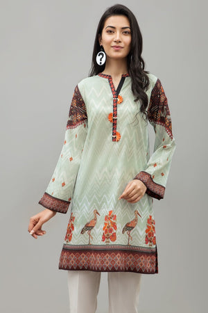 IVORY & MAROON - 1 pc PRET (Stitched) - Digital Printed Lawn Shirt - yesonline.pk