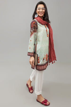 Burnt Red Malmal Crushed Dupatta By Yesonline.pk - yesonline.pk