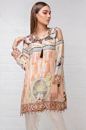 Pastel Mist  (Pure Grip Silk, Digitally Printed Tunics Fusion 1 pc Shirt) - yesonline.pk