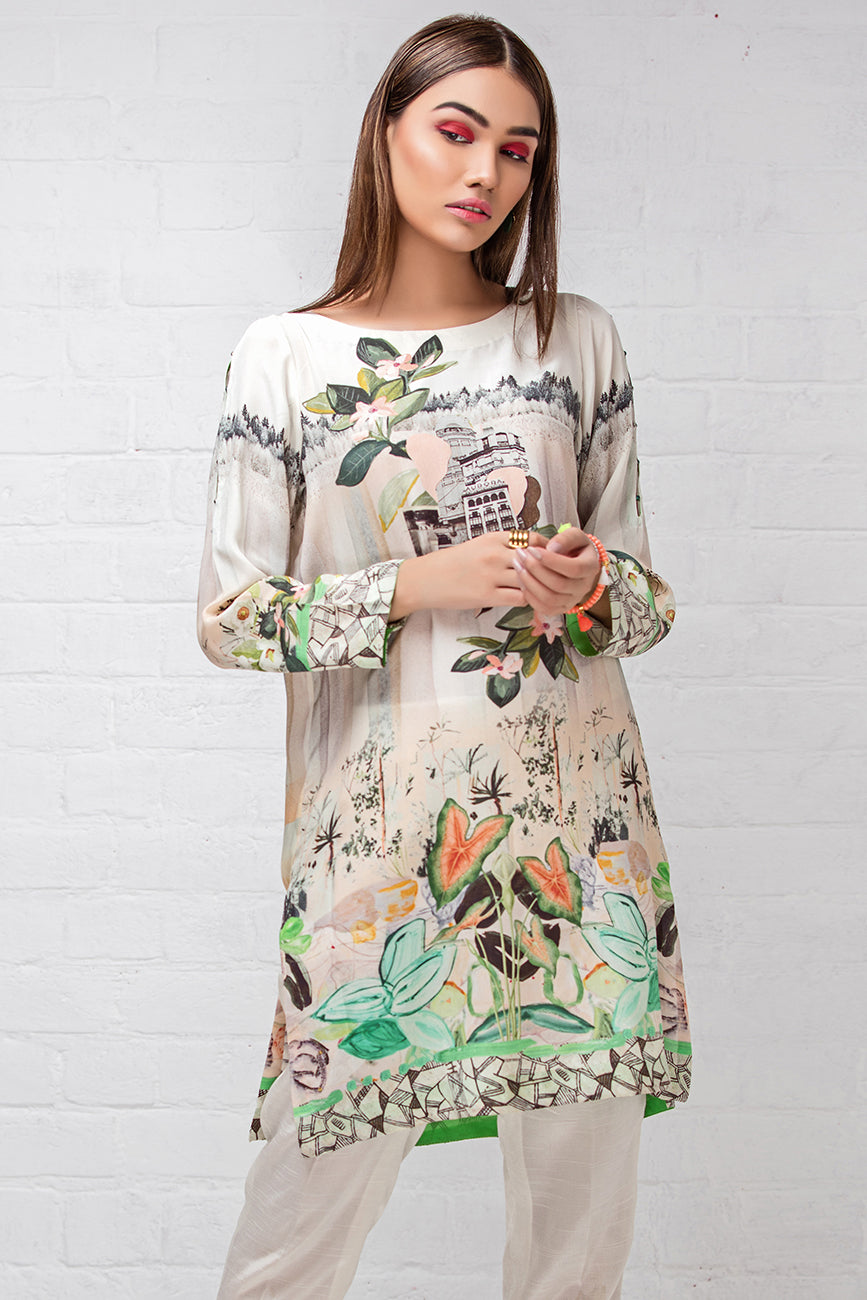 Mint Forest (Pure Grip Silk, Digitally Printed Tunics Fusion 1 pc Shirt) - yesonline.pk