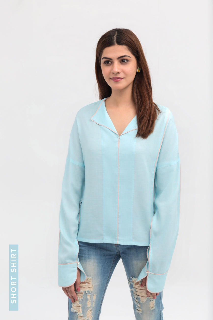 Light Blue Lapel Shirt Short Length in Cotton Rich - yesonline.pk