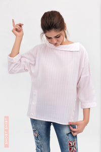 Pink Cowl Neck Short Length Fusion Shirt in Cotton Rich - yesonline.pk