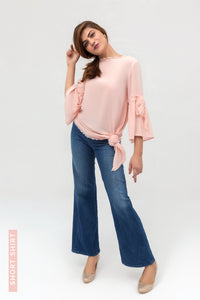 Pink Side Down Long Shirt In Crepe Fabric With Short Length - yesonline.pk