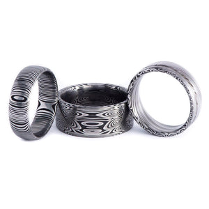 Heimskringla Pattern Damascus Ring with Aquamarine Stone Setting - 7 mm