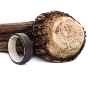Titanium Ring with Deer Antler and Black Onyx Stone Asymmetrical Inlay - 7 mm