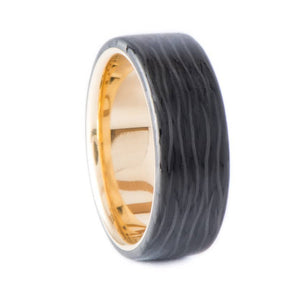 14K Rose Gold Ring with Olivewood Inner Sleeve - Finish Facet - 5 mm