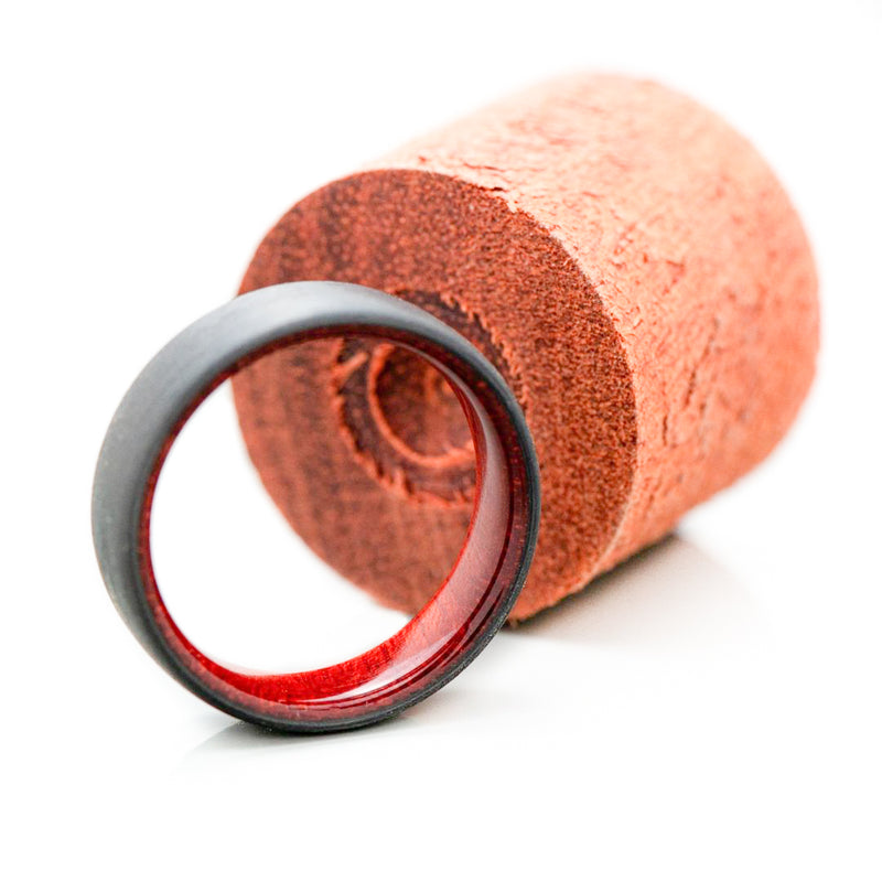 Unidirectional Carbon Fiber Ring with Bloodwood Inner Sleeve - 7 mm