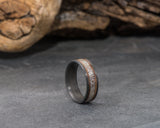 Carbon Fiber Ring with Central Deer Antler & Sides Walnut Wood Inlays