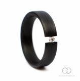 Carbon Fiber Ring with Diamond 0.03 ct. Tension Set