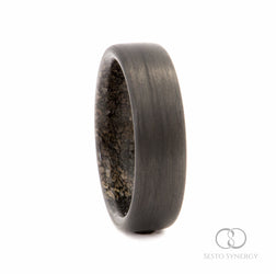 Carbon Fiber Ring with Dinosaur Bone n. 123 Inner Sleeve