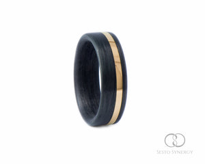 Carbon Fiber Ring with Off-Center 14K Yellow Gold Inlay