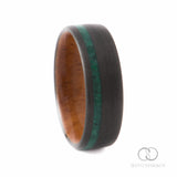 Carbon Fiber Ring with Off-Center Malachite Stone Inlay & Amboyna Burl Wood Inner Sleeve