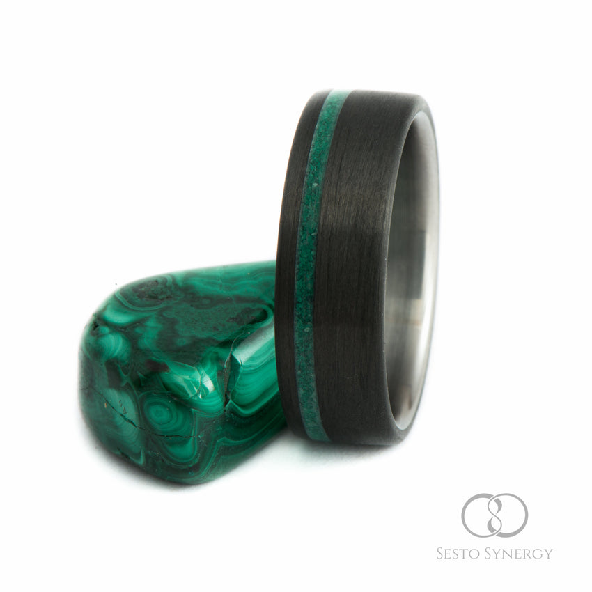 Carbon Fiber Ring with Off-Center Malachite Stone Inlay & Titanium Inner Sleeve