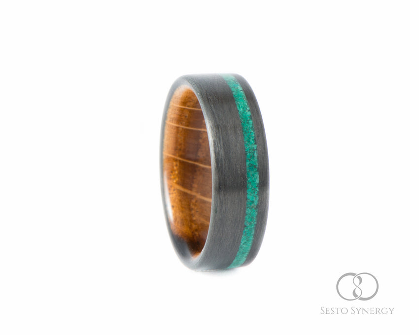 Carbon Fiber Ring with Off-Center Malachite Stone Inlay & Whiskey Barrell Oak Wood Inner Sleeve