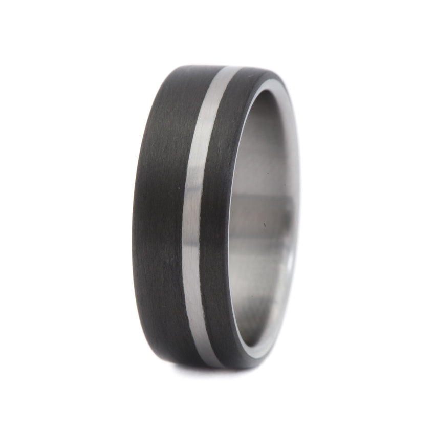 Carbon Fiber Ring with Off-Center Titanium Inlay & Titanium Inner Sleeve