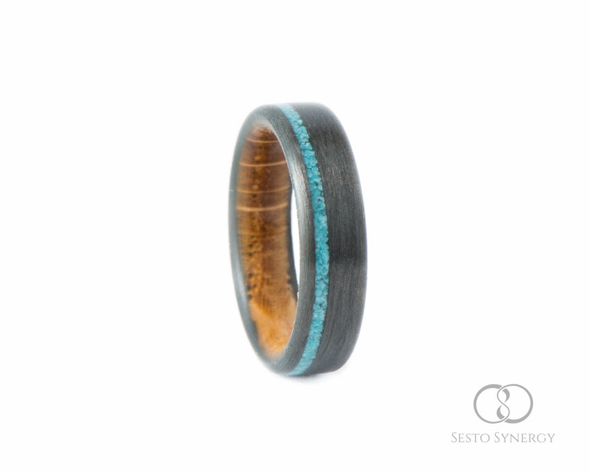 Carbon Fiber Ring with Off-Center Turquoise Stone Inlay & Whiskey Barrel Oak Wood Inner Sleeve