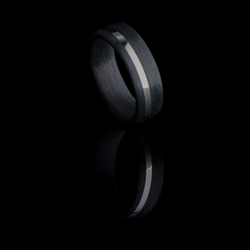 Carbon Fiber Ring with Off-Center 14K White Gold Inlay