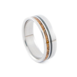 Titanium Ring with Asymmetrical Tiger Eye Stone & Unidirectional Carbon Fiber Inlays
