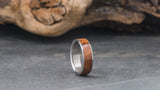Titanium Ring with Central Thuya Burl Wood Inlay