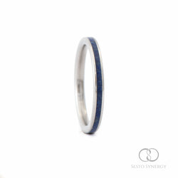 Titanium Ring with Lapis Lazuli Stone Inlay - 2 mm