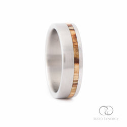 Titanium Ring with Off-Center Silver Birch Wood Inlay