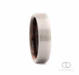 Titanium Ring with Walnut Wood Inner Sleeve