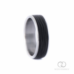 Titanium Ring with Central Cross-Cut Wave Carbon Fiber Inlay