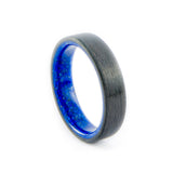 Carbon Fiber Ring with Lapis Lazuli Stone Inner Sleeve