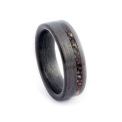 Carbon Fiber Ring with Off-Center Custom Solid Dinosaur Bone n. 141 Inlay