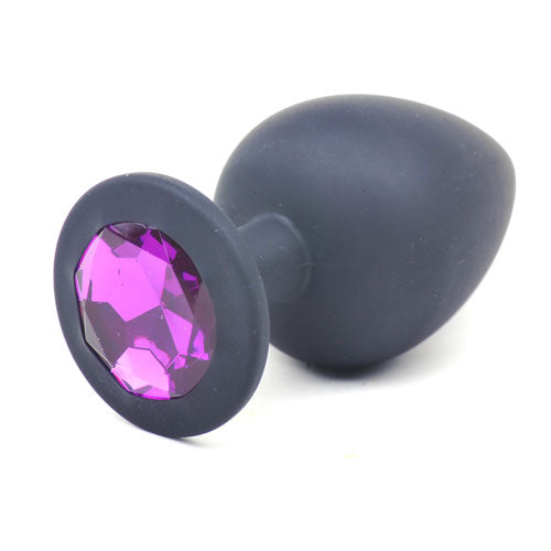 Butt Plug - Black Silicone -Purple Gem