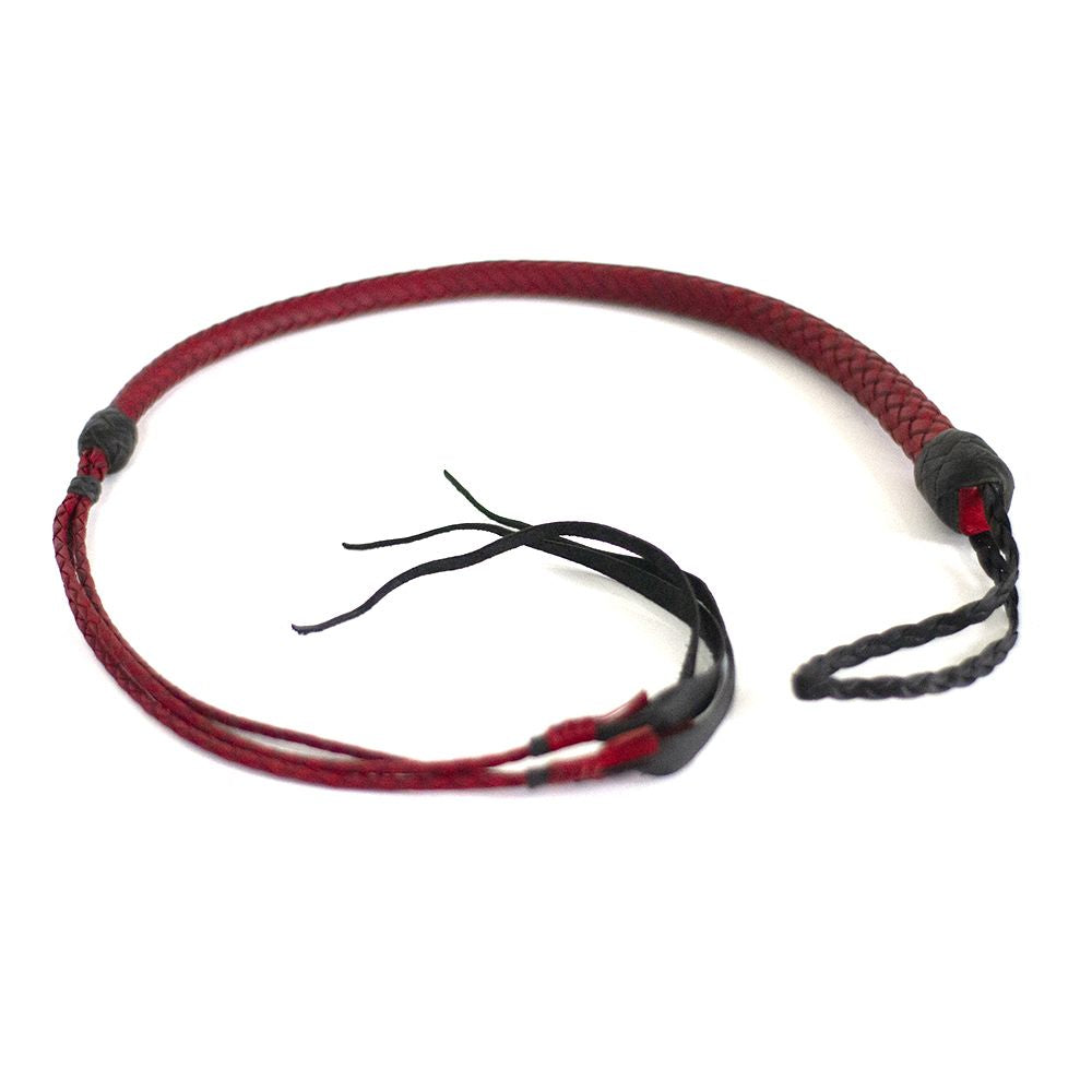 12 Plait Kangaroo El Diablo Whip - Red and Black