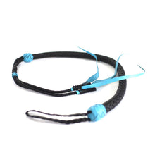 Load image into Gallery viewer, 12 Plait Kangaroo El Diablo Whip - Teal and Black